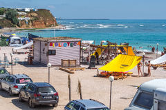 野营在海滩在Vama Veche 免版税图库摄影