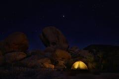 野营在约书亚树国家公园的夜 免版税库存图片