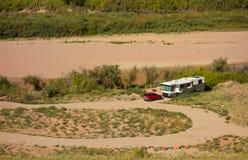 野营在舒适和样式的沙漠 图库摄影
