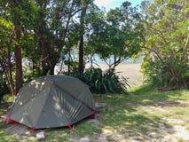 野营在阴影的海滩旁边 库存照片