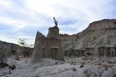 野营在Tatacoa沙漠,在Neiva,哥伦比亚 免版税库存图片