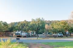 野营地在山斑马国家公园 库存照片