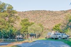 野营地在山斑马国家公园 图库摄影