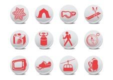 野营或滑雪按钮 库存图片