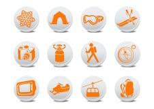 野营或滑雪按钮 免版税库存照片