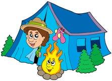 野营的侦察员帐篷 免版税库存照片