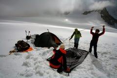 野营的冰川 免版税库存图片