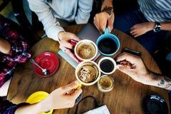 野营的咖啡友谊幸福统一性概念 免版税库存图片