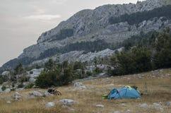 野营的地方在国家公园Lovcen,黑山 免版税图库摄影