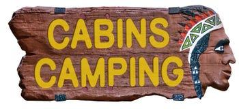 野营的客舱标志印地安顶头木葡萄酒 免版税库存照片