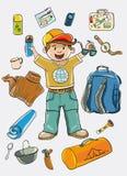 野营的成套工具 免版税库存图片