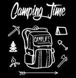 野营的时间例证,充分地可升级 为T恤杉印刷品使用它,改变颜色和文本 上色模式可能的变形多种向量 库存照片