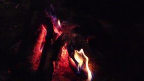 野营的火,超级慢动作燃烧木柴篝火火焰的关闭  股票视频
