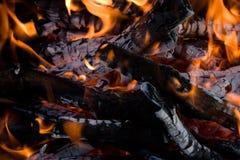 野营的篝火 免版税库存图片