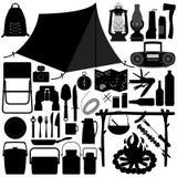 野营的野餐消遣工具 免版税库存图片