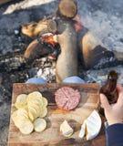 野营的食物 免版税库存照片