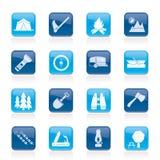 野营,旅行和旅游业图标 免版税库存照片