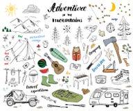 野营,远足手拉的与山的剪影乱画集合传染媒介例证,帐篷、木筏、格栅和营火、轴和刀子, pi 免版税库存照片