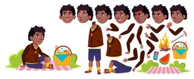 野餐传染媒介的男孩男小学生 投反对票 美国黑人 动画创作集合 研究 夏天高涨放松 为 皇族释放例证