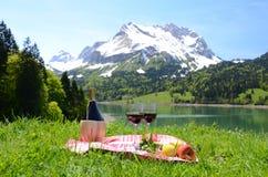 野餐在高山草甸。瑞士 图库摄影