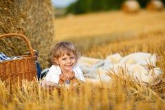 去野餐在黄色干草领域的3年的小男孩在夏天 库存图片