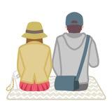 野餐夫妇-背面图 库存照片