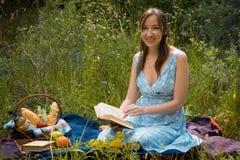 野餐本质上在夏天 浪漫蓝色礼服的少妇我 库存图片