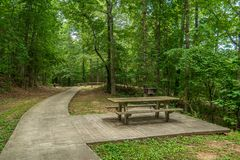 野餐桌和格栅在公园 库存照片