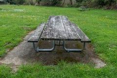野餐桌在春天 库存照片