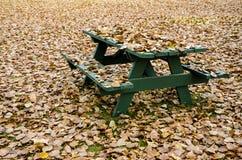 野餐桌掩藏在金黄秋叶下 免版税图库摄影