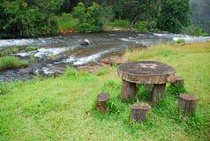 野餐桌木头 库存照片
