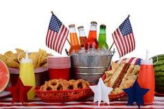 野餐桌美国独立纪念日题材 库存图片