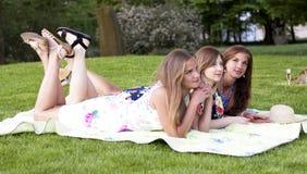 野餐的三个夫人 儿童有父亲的乐趣一起使用 免版税图库摄影