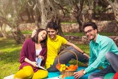 野餐的三青年人在橄榄树下 库存照片