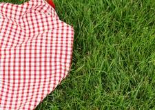 野餐的背景-在草的格子花呢披肩 库存图片