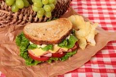 野餐篮子敬酒了火腿和乳酪三明治 图库摄影
