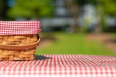 野餐篮子方格与野餐桌布 库存图片