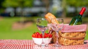 野餐篮子方格用桌布酒,长方形宝石,草莓,玻璃,横幅 免版税库存照片
