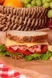 野餐篮子火腿和乳酪三明治关闭 免版税库存图片