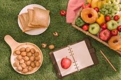 野餐篮子用在格子花呢披肩的果子在夏天公园 免版税库存图片