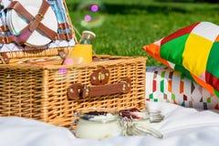 野餐篮子用果子,橙汁,新月形面包和没有烘烤蓝莓和草莓乳酪蛋糕 库存图片