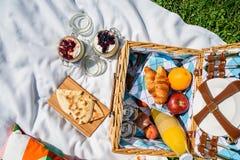 野餐篮子用果子,橙汁,新月形面包,油炸玉米粉饼和没有烘烤蓝莓和草莓乳酪蛋糕 免版税图库摄影