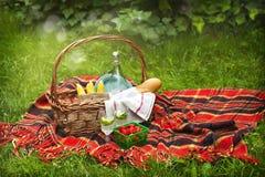 野餐篮子用莓果、柠檬水、玉米和面包 库存图片