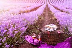 野餐篮子,旧书,玻璃喝酒在落日的光芒下 在日落的浪漫野餐概念在芬芳淡紫色 图库摄影