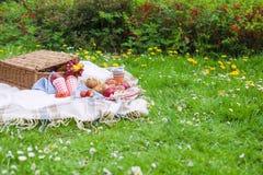 野餐篮子 吃在绿草和格子花呢披肩 春天和假期 安置文本 库存照片