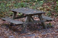 野餐长凳在秋天森林里 免版税库存照片
