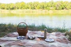 野餐集合,金属利器,热水瓶,镀茶杯 棕色格子花呢披肩和餐巾从湖在背景中 绿草 晴朗的su 免版税库存照片