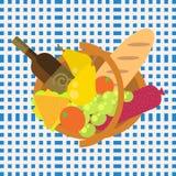 野餐食物在无缝的蓝色的烤肉篮子 库存图片