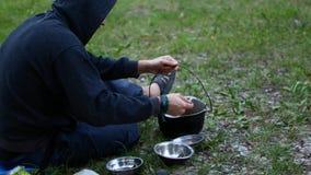 野餐食物粥罐 影视素材