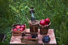野餐,木箱用苹果,水瓶, 免版税库存图片